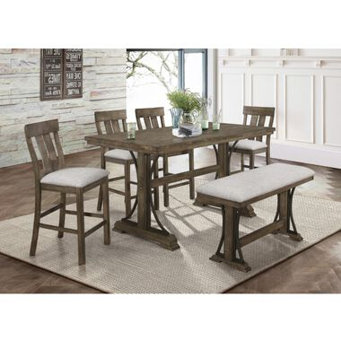 6-Piece Quincy Counter Height Dining Set with 4 Chairs & Bench