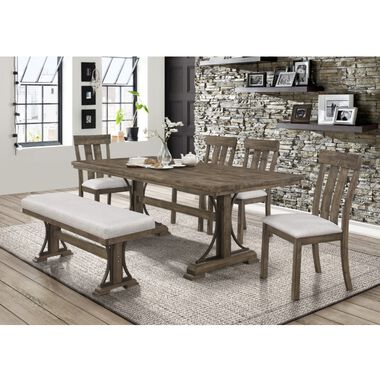 6-Piece Quincy Dining Set with 4 Chairs & Bench