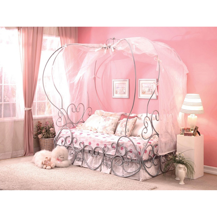6-Piece Pryia Twin Canopy Bed & Mattress Set