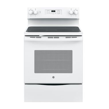 5.3 cu. ft. Self Cleaning Electric Range with Dual Power Boil Ceramic Cooktop - White