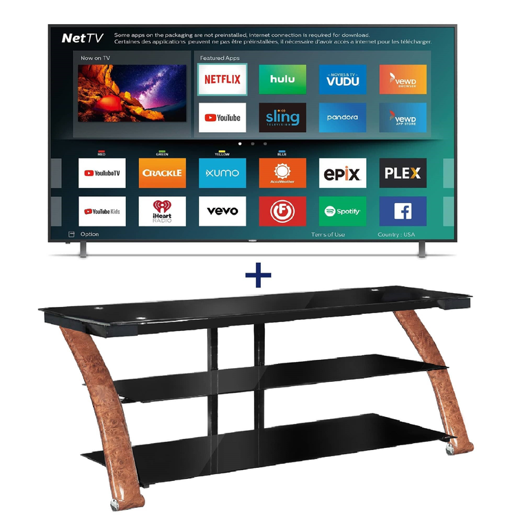 "50"" Class Smart 4K UHD TV & 52"" TV Console Bundle"