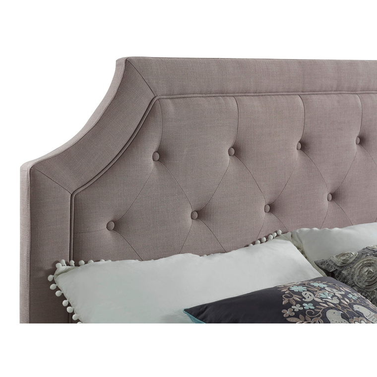 Queen Grey Tufted Headboard with Mattress & Base