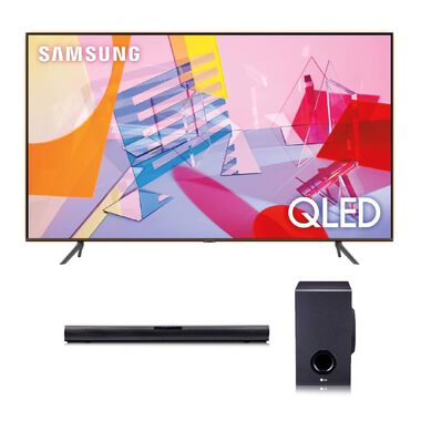 "55"" Class QLED 4K UHD Smart TV & LG 160W 2.1Ch Sound Bar Bundle"