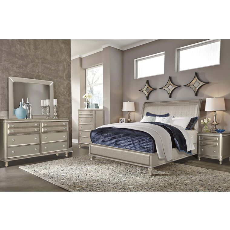 9-Piece Glam Queen Bedroom Collection With Tight Top Mattress