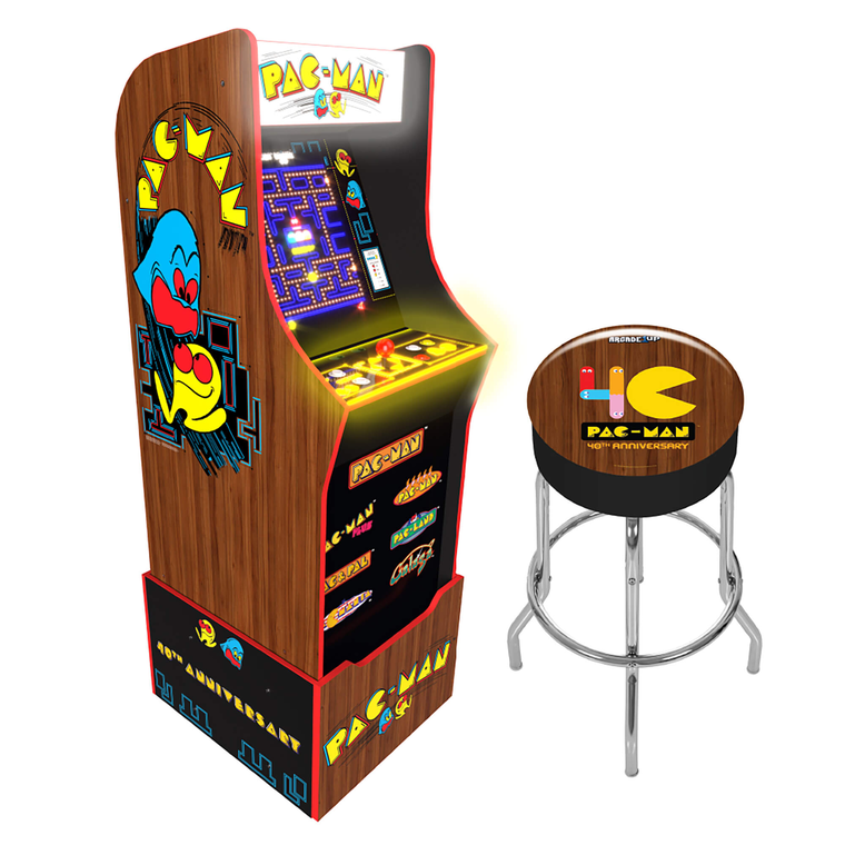 Pac Man 40th Anniversary Arcade Game with Stool