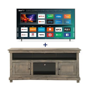 "50"" Class Smart 4K UHD TV & 60"" Grey Rustic TV Stand Bundle"