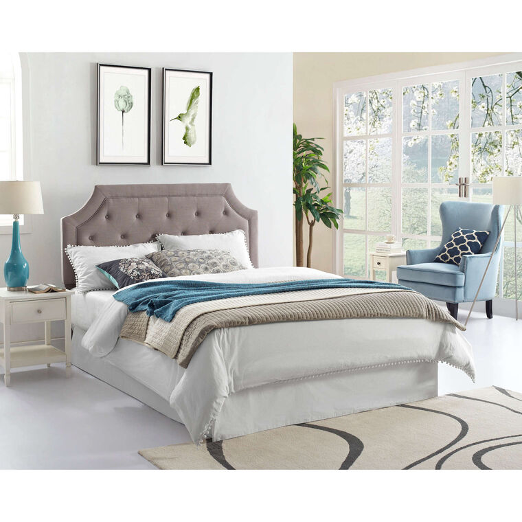 Queen Grey Tufted Headboard with Tight Top Mattress and Base