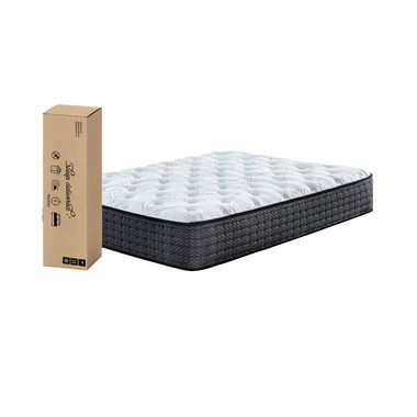 """12"""" Tight Top Plush Queen Innerspring Boxed Mattress with Platform Frame & Protector"""