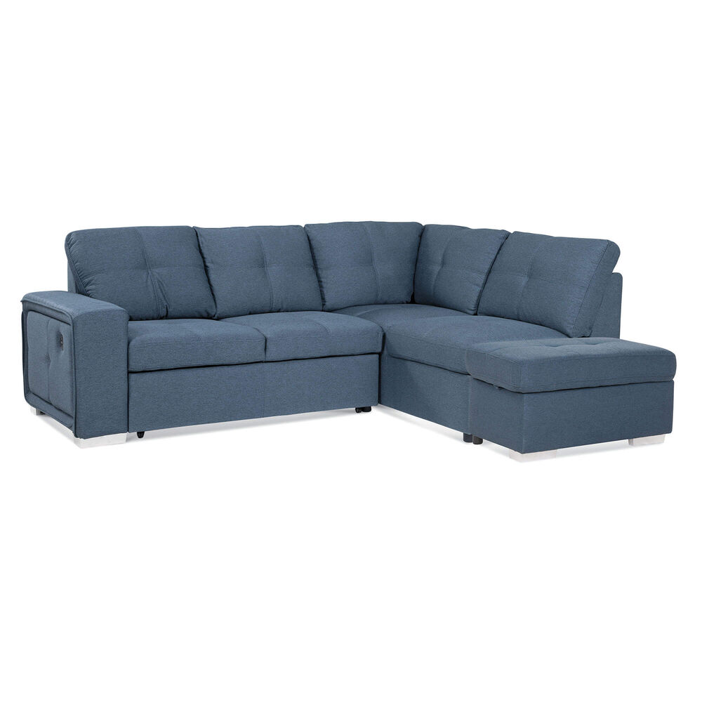 Fabulous 3 Piece Bellini Sectional Chaise Sleeper Sofa With Storage Ottoman Ocoug Best Dining Table And Chair Ideas Images Ocougorg