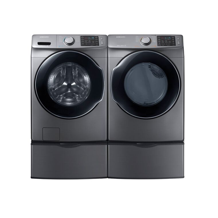 4.5 cu. ft. Energy Star Front Load Steam Washer &  7.5 cu. ft. Gas Steam Dryer with Pedestals