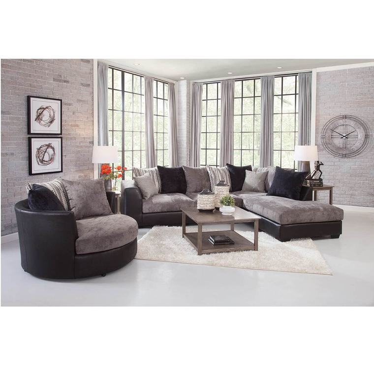 3-Piece Jamal Chaise Sofa Sectional with Barrel Chair