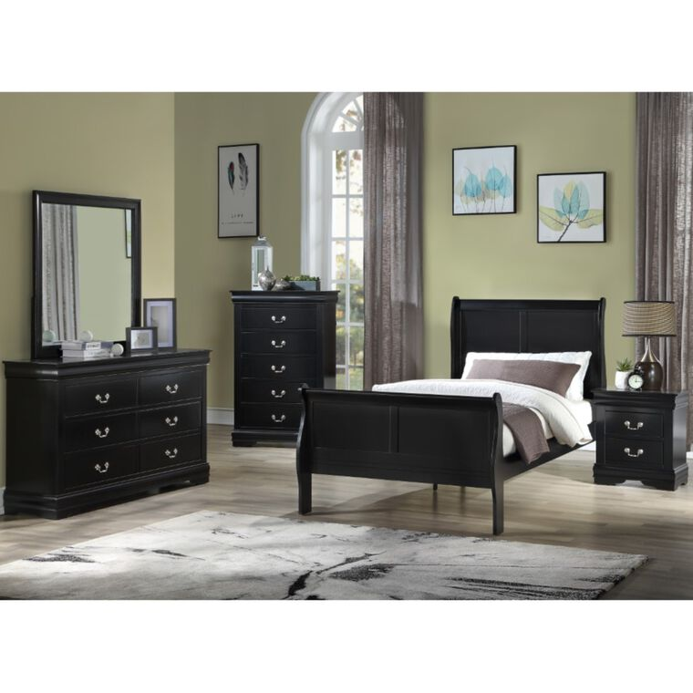 7-Piece Louis Philip Black Full Bedroom