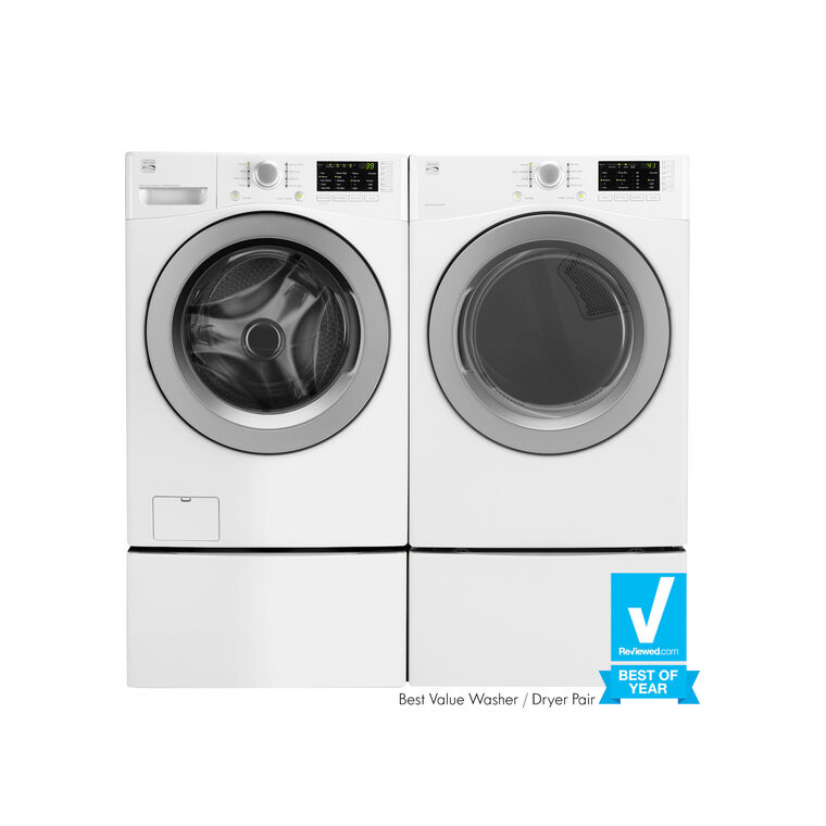 High Efficiency 4.8 cu. ft. Front-Load Washer & 7.0 cu. ft. Gas Dryer with Pedestals