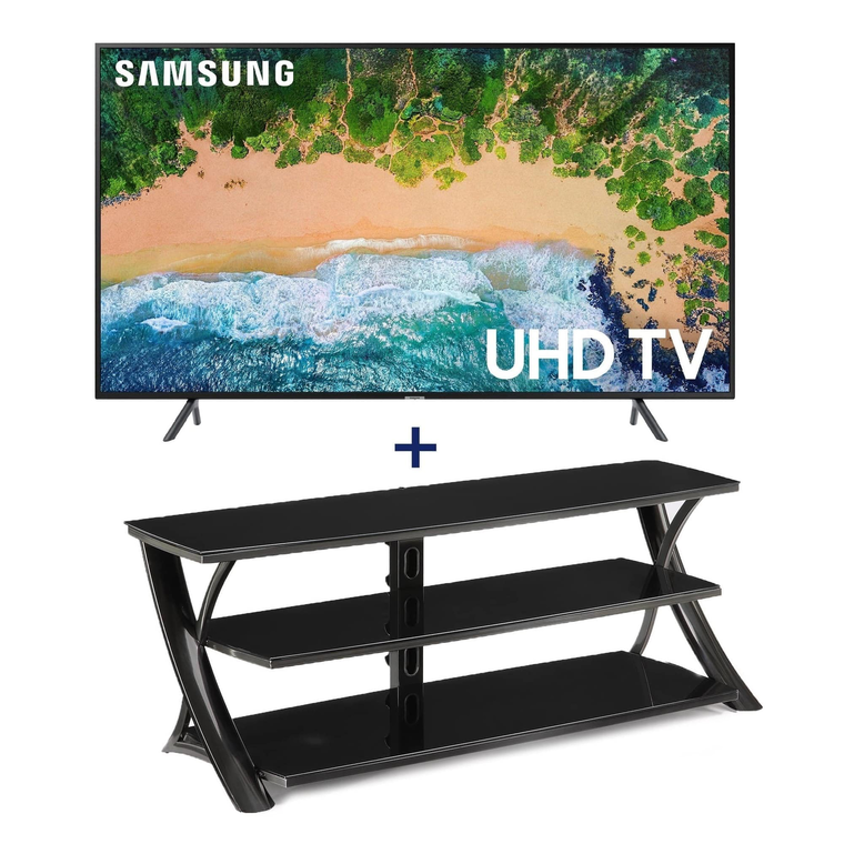 "55"" Class (54.6"" diagonal) Smart 4K UHD TV & 65"" Contemporary TV Stand Bundle"