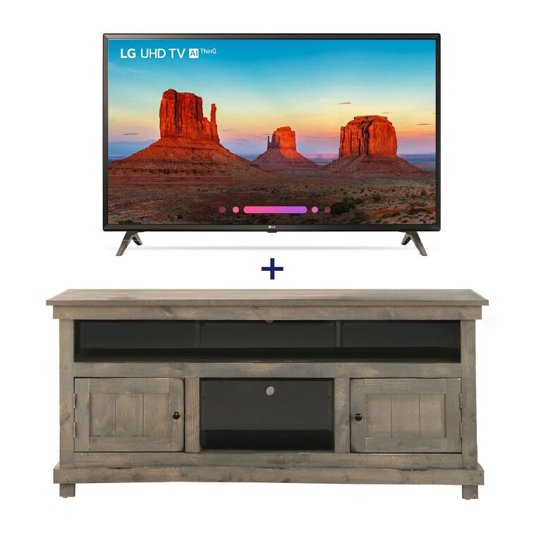 "55"" Class Smart 4K UHD TV & 60"" Grey Rustic TV Stand Bundle"