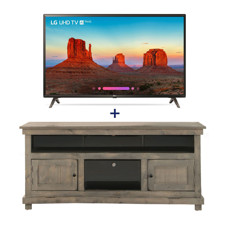 "55"" Class (54.6"" Diag.) Smart 4K UHD TV & 60"" Grey Rustic TV Stand Bundle 