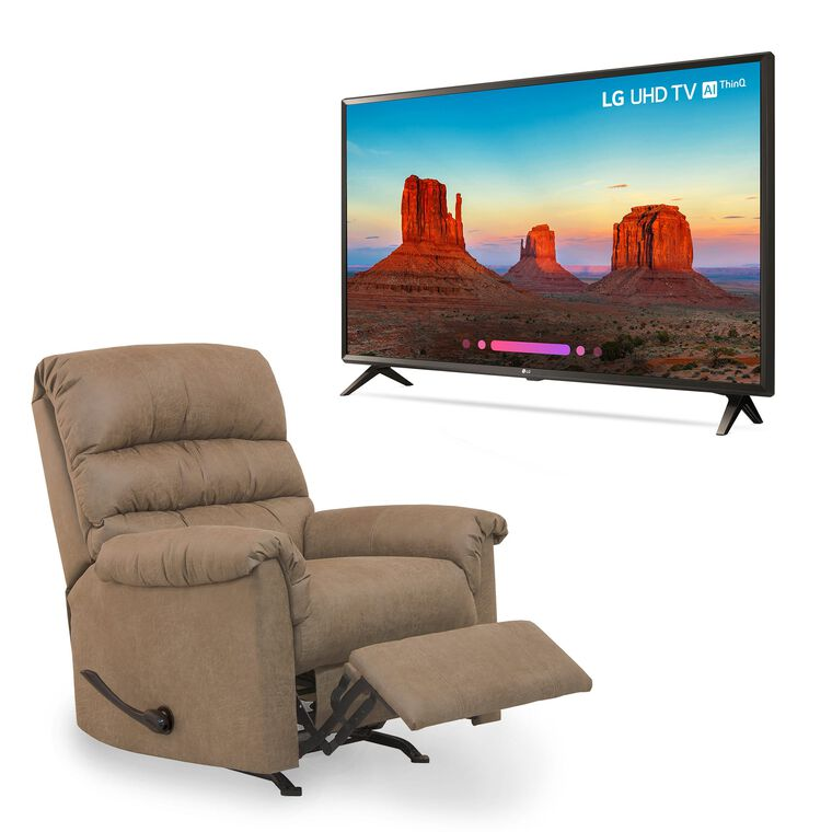"49"" Class 4K UHD LED Smart TV and Small Rocker Recliner Bundle"
