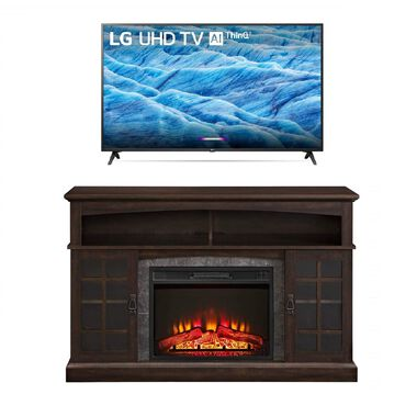"49"" Class 4K UHD LED Smart TV with 54"" Fireplace TV Stand Bundle"