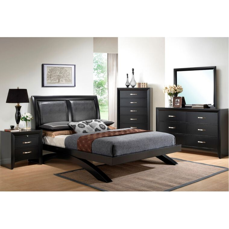 7-Piece Galinda Black Bedroom w/Queen Bed