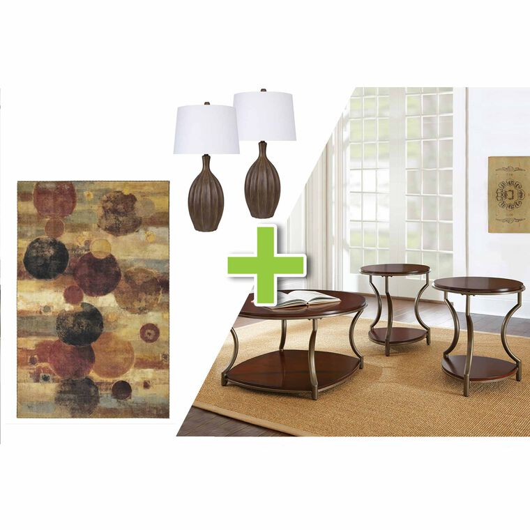 6-Piece Maryland Tables, Antique Carob Lamps and Pendulum Rug Bundle