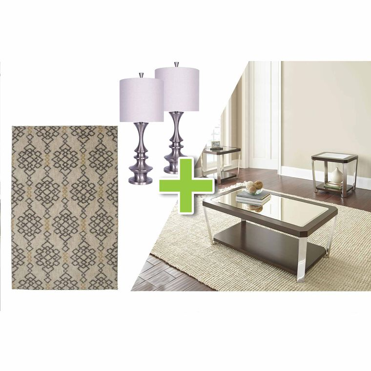 6-Piece Truman Tables, Brushed Nickel Lamps and Briella Rug Bundle