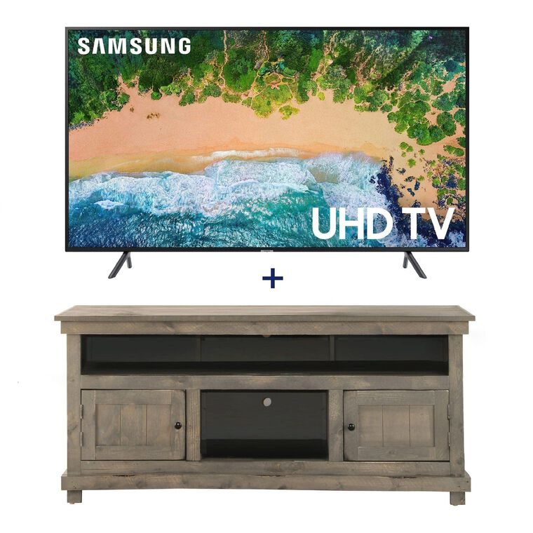 "55"" Class (54.6"" diagonal) Smart 4K UHD TV & 60"" Grey Rustic TV Console Bundle"