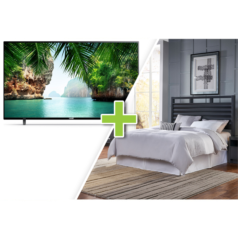 "50"" Class 4K UHD Smart TV and 5-Piece Soho Queen Bedroom Collection"