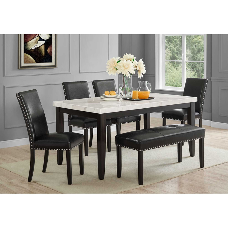 6-Piece Westby White Marble Dining Room Collection