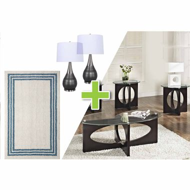 6-Piece Dania Tables, Laser Gull Gray Lamps and Sag Harbor Rug Bundle