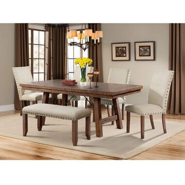 6-Piece Jax Dining Room Collection with Upholstered Chairs & Bench