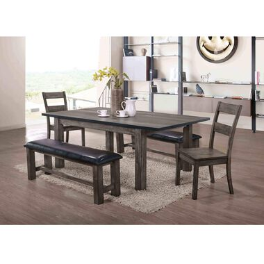 6-Piece Nathan Dining Room Collection with Wood Chairs & Bench