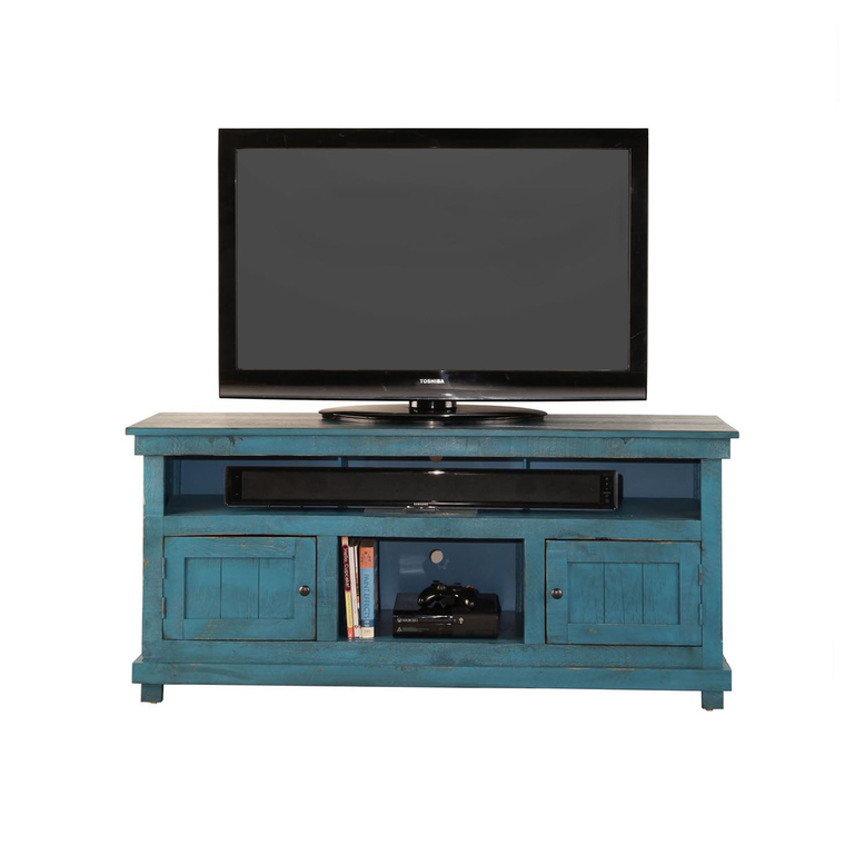 """60"""" Rustic TV Stand - Blue"""