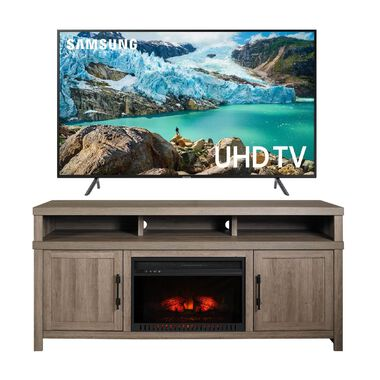 "65"" Class Smart 4K UHD TV with 72"" Mystic Oak Fireplace TV Console"
