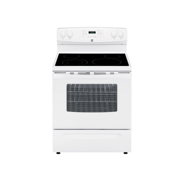 5.3 ccu. ft. Electric Self Cleaning Oven with Ceramic Cooktop - White