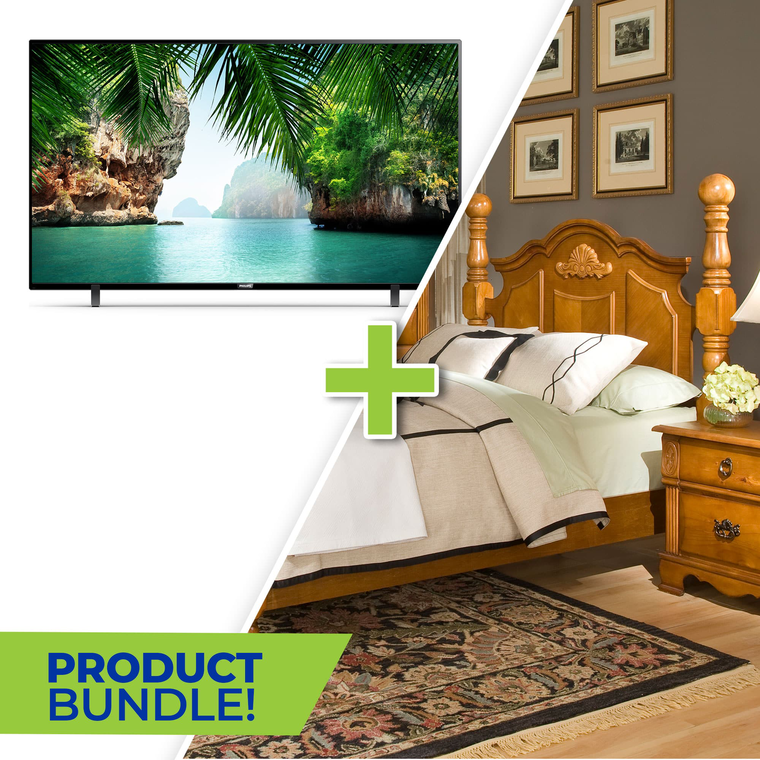 "50"" Class 4K UHD Smart TV and 7-Piece Bryant Queen Bedroom Collection"