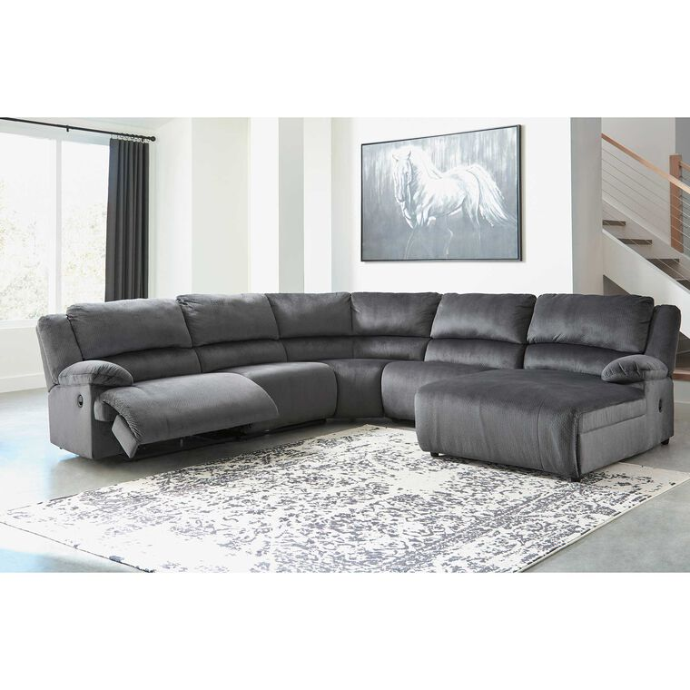 6-Piece Clonmel Charcoal Reclining Sectional Living Room Collection
