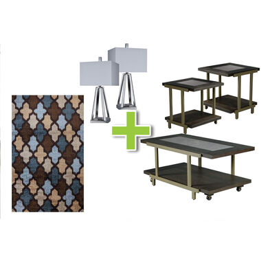 6-Piece Terrell Tables, Brushed Coal Lamps and Ikat Rug Bundle