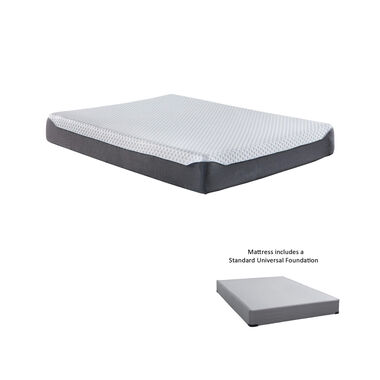 "10"" Tight Top Firm Queen Memory Foam Boxed Mattress with 9"" Foundation & Protectors"