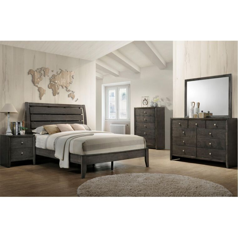 7-Piece Evan Grey Bedroom w/Full Bed