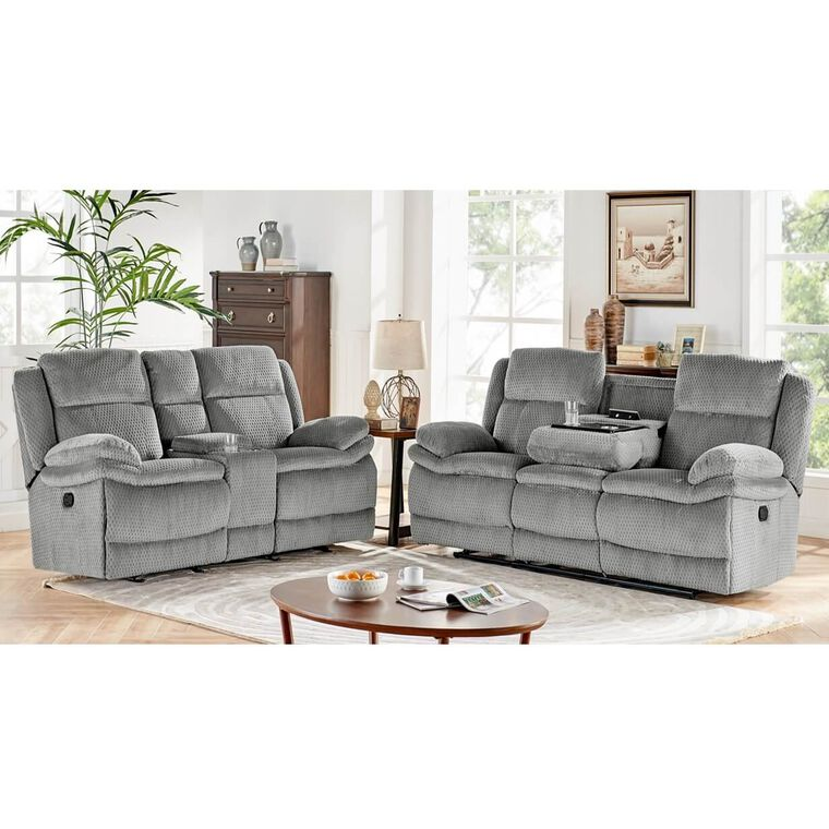 2-Piece Smokey Reclining Sofa & Reclining Console Loveseat Set
