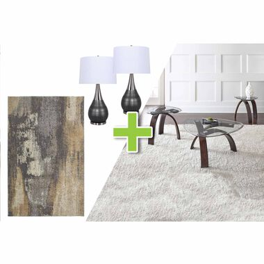 6-Piece Pitman Tables, Laser Gull Gray Lamps and Cruze Rug Bundle