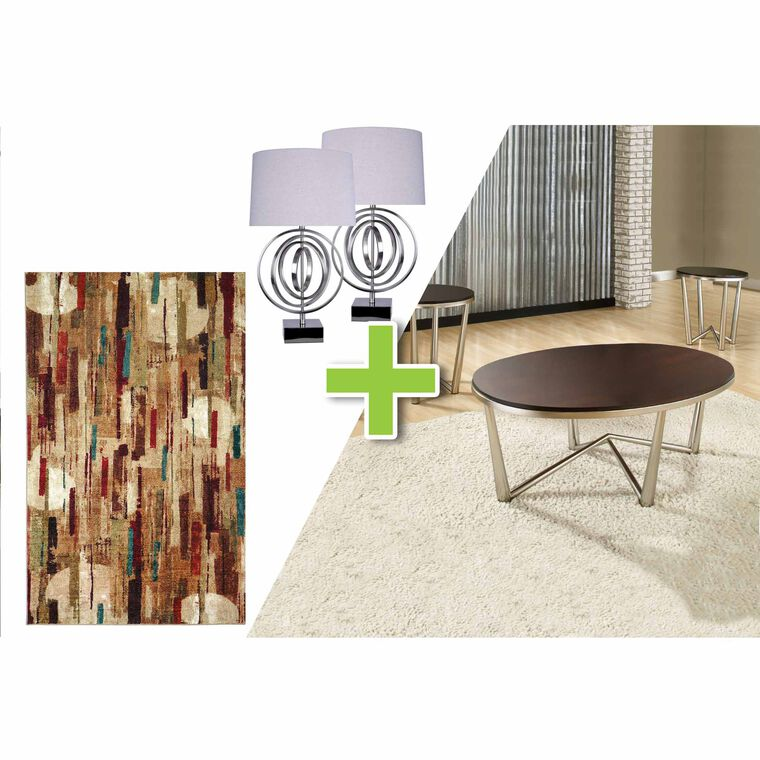 6-Piece Cosmos Tables, Brushed Nickel Lamps and Facet Rug Bundle