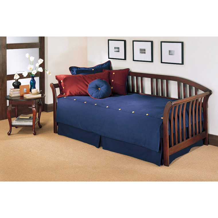 Salem Complete Wood Daybed with Curved Back Panel and Link Spring, Mahogany Finish, Twin | Tuggl