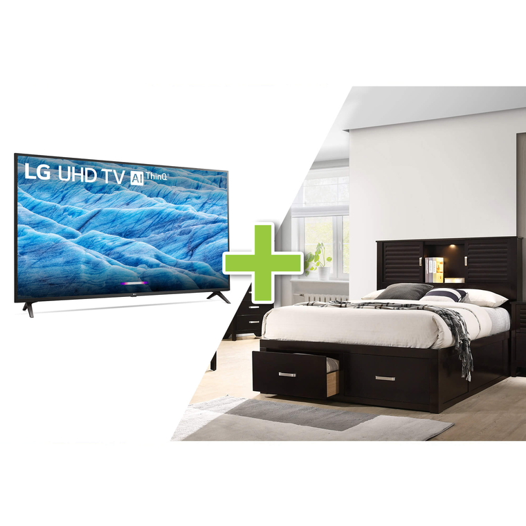"43"" Class 4K TV and Dalton Queen Platform Storage Bedroom with Tight Top Mattress"