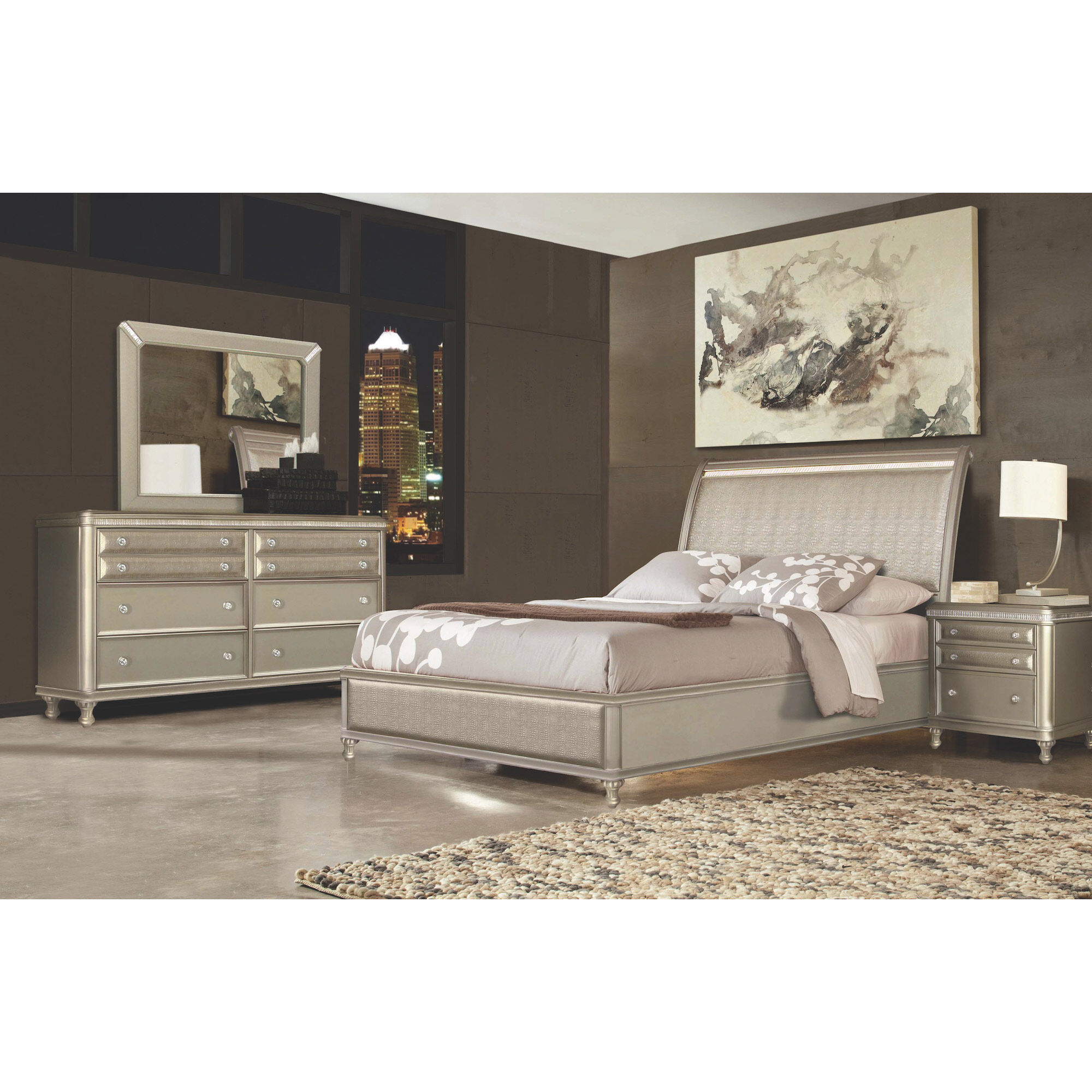 7 Piece Glam Queen Bedroom Collection