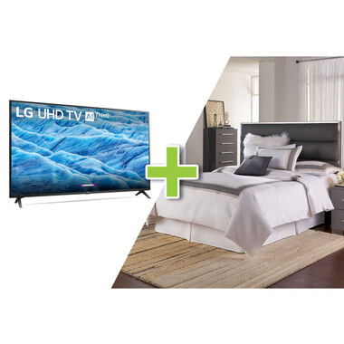 "43"" Class 4K UHD Smart TV and Dimora II Queen Bedroom Bundle"