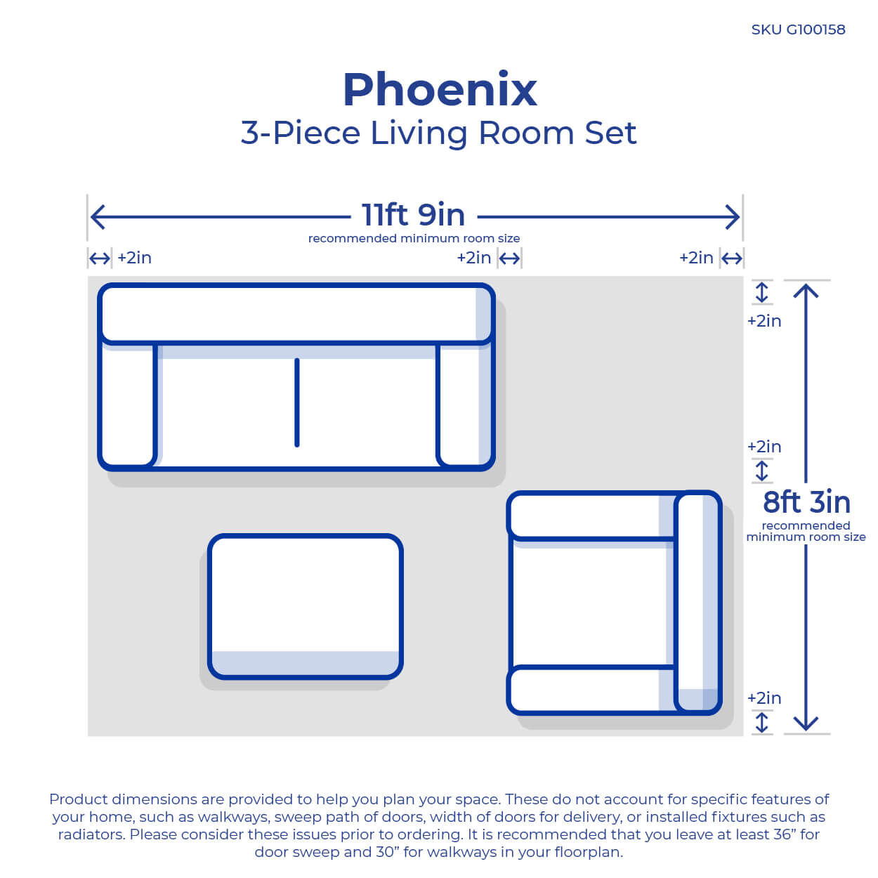 3 Piece Phoenix Living Room Collection