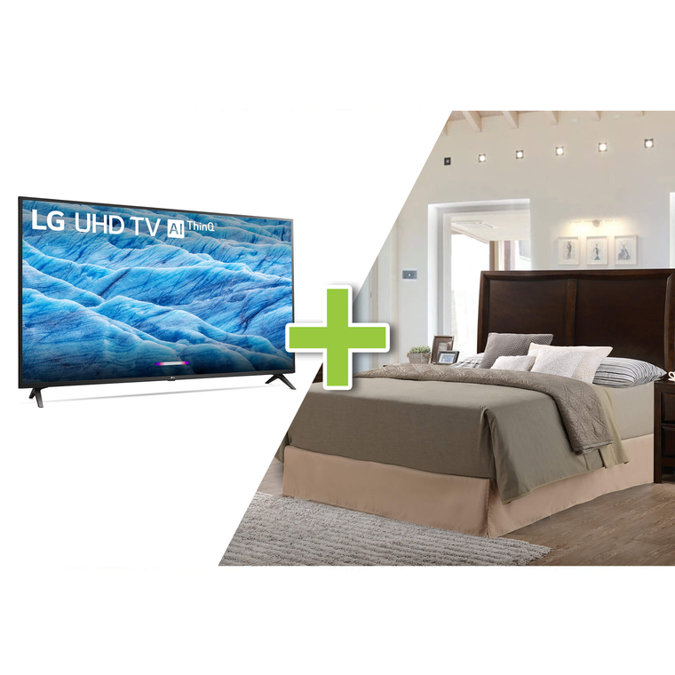 "43"" Class 4K UHD Smart TV and 5-Piece Franklin Queen Bedroom Collection"