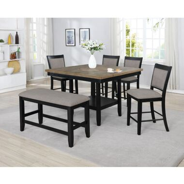 6-Piece Fulton Black Counter Height Dining Set