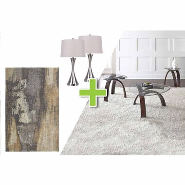 6-Piece Pitman Tables, Metal Lamps and Cruze Rug Bundle